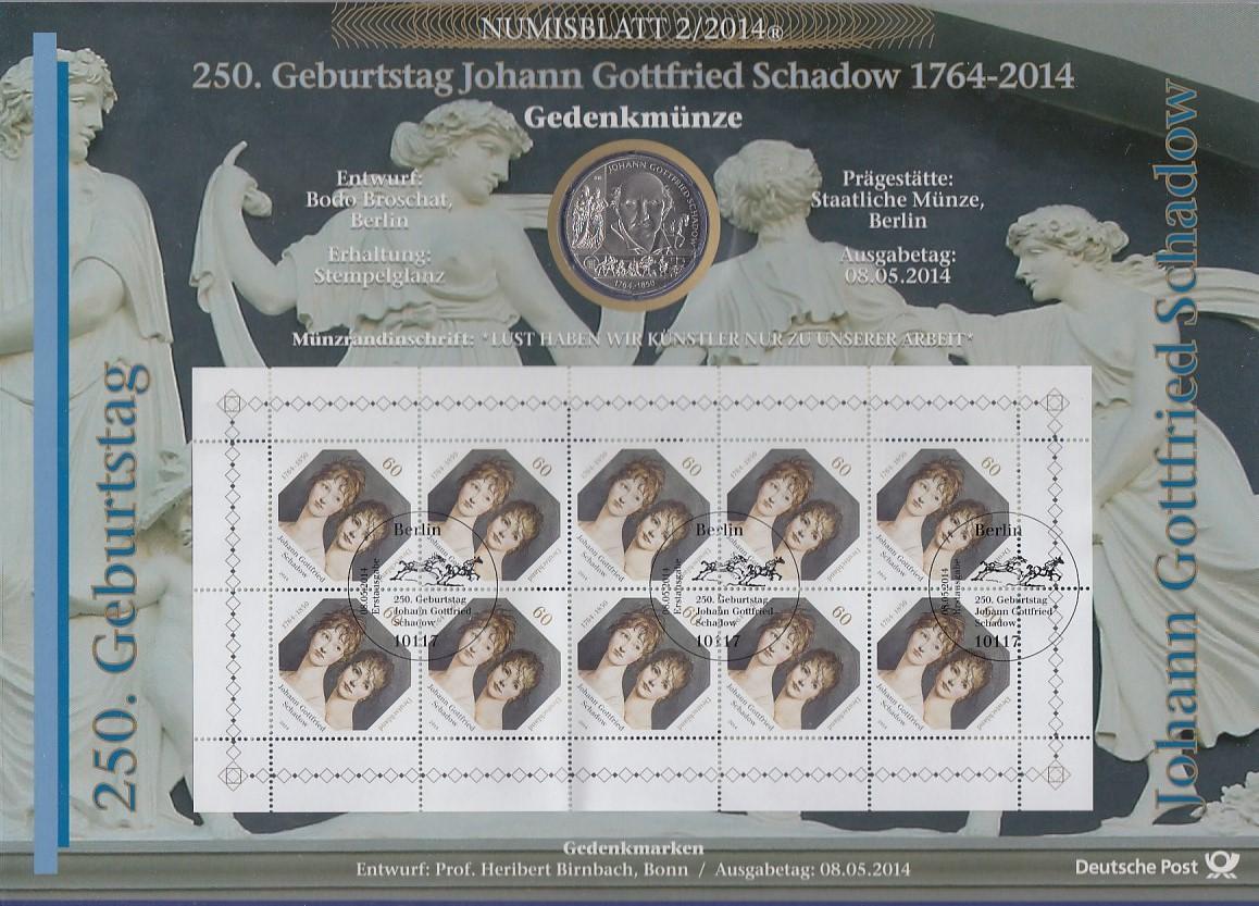Bundesrepublik Numisblatt 22014 J Gottfried Schadow Mit 10 Euro