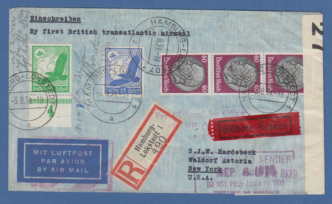 Brief Nach New York : Flugpost brief gel von hamburg am nach new york
