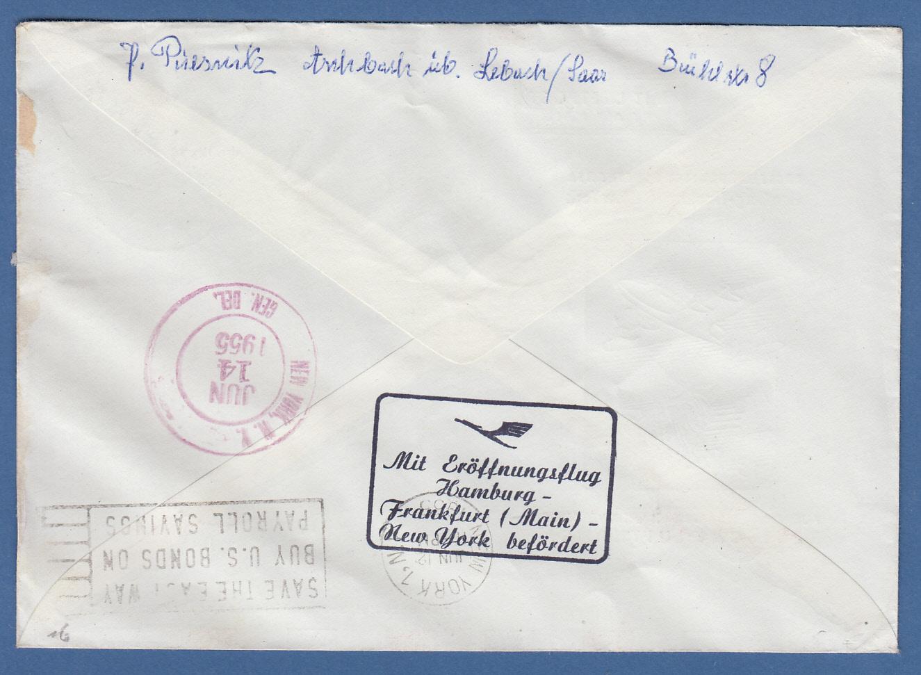 Brief Nach New York : Saar luftpostbrief gelaufen nach new york usa