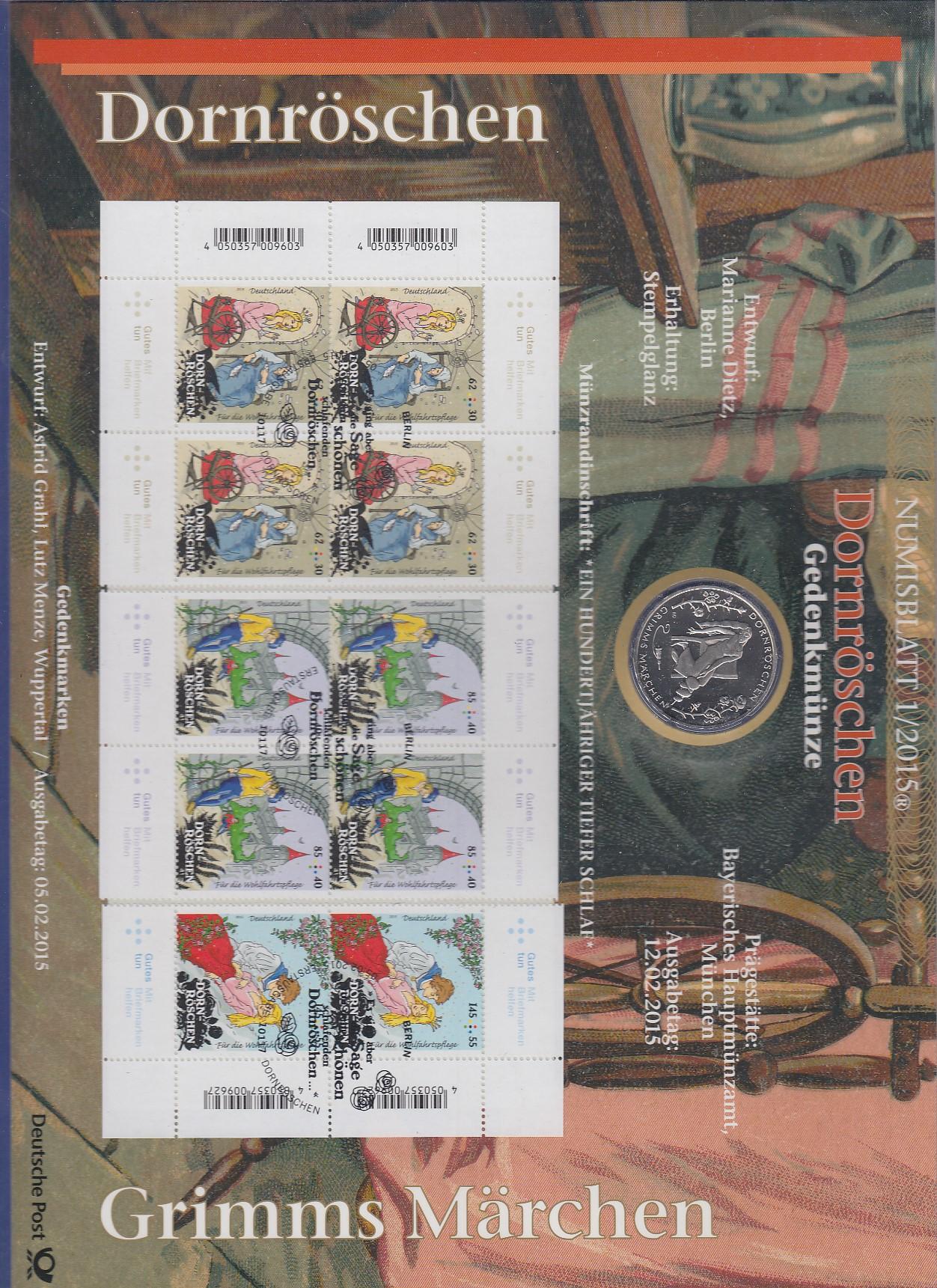 Bundesrepublik Numisblatt 12015 Märchen Dornröschen Mit 10 Euro