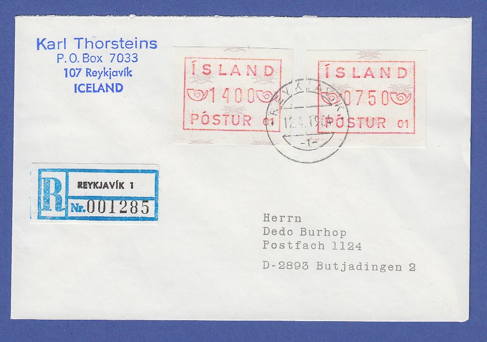Island Atm Nr 1 Aut Nr 01 Wertsufe 2150 Auf R Brief Nach