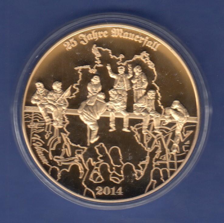 Deutsche Heimat 25 Jahre Mauerfall Edel Vergoldete Große Medaille