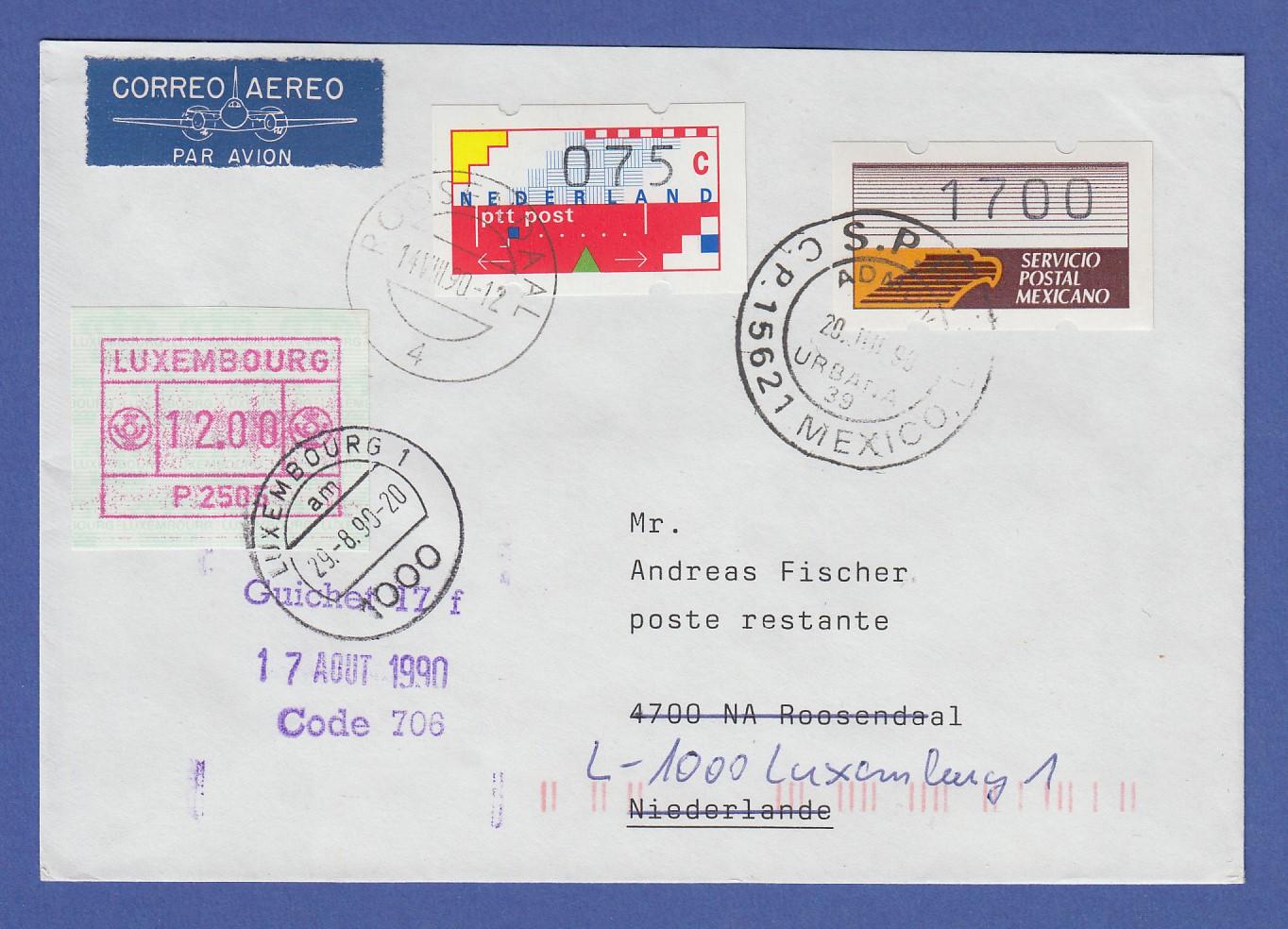 Brief Nach Mexiko Senden : Mexiko atm nr auf brief nach nl mit und lux