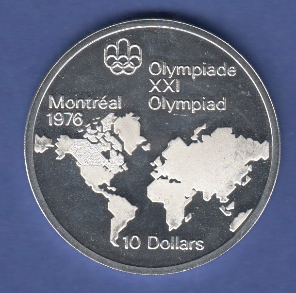 Kanada Olympische Spiele Montreal 1976 Silbermünze 10 Dollar