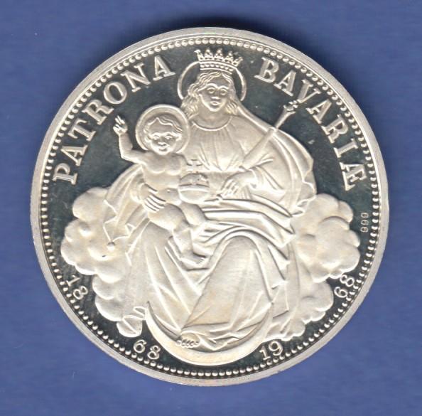 Medaille Patrona Bavariae 1868 1968 Bayerisches Staatswappen Silber