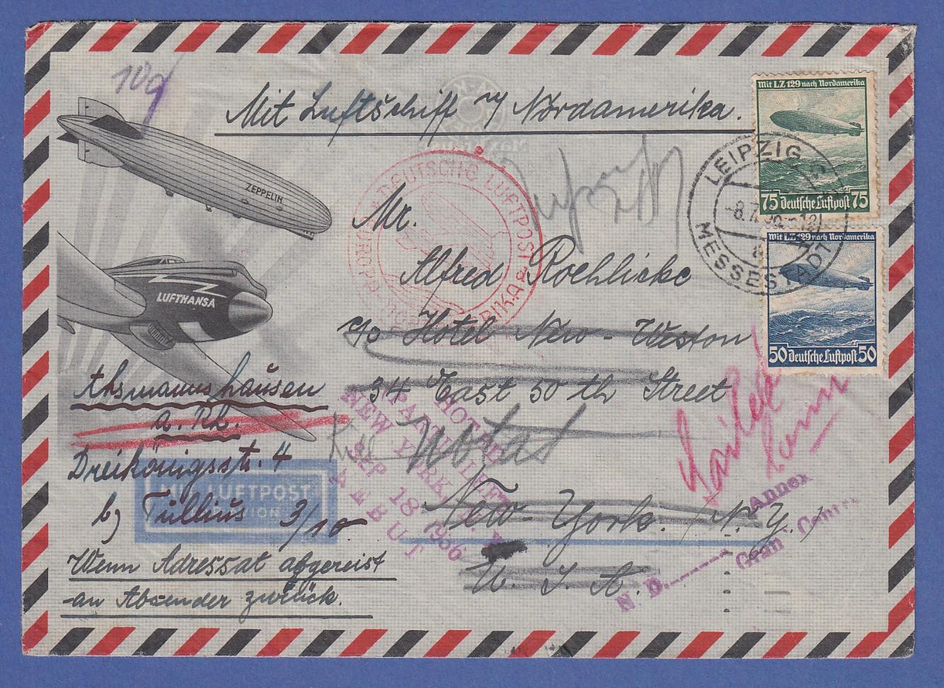 Brief Nach New York : Dt reich zeppelin schöner brief nach new york mit mi
