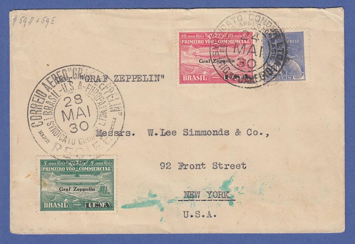 Brief Nach New York : Dt reich zeppelin lz brief von brasilien