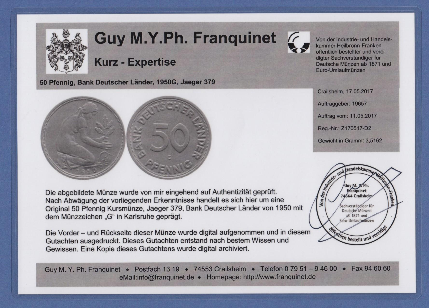 50 Pfennig Münze Bank Deutscher Länder 1950 G Top Stück Expertise