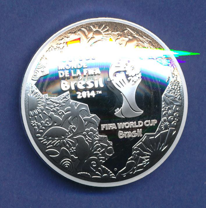 Gewölbte 10 Euro Silber Münze Frankreich Fifa Fussball Wm Brasilien