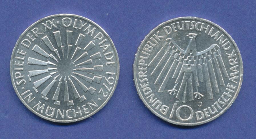 Olympische Spiele 1972 10dm Silber Gedenkmünze Spirale München J