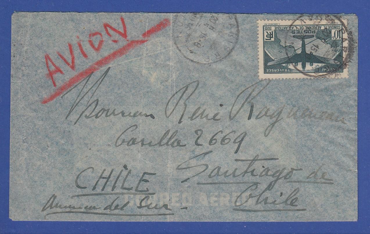 Briefe Nach Chile : Frankreich flugpostbrief gel nach chile