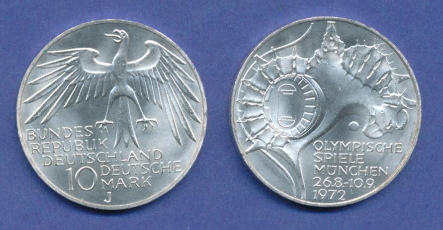 Olympische Spiele 1972 10dm Silber Gedenkmünze Olympiastadion J