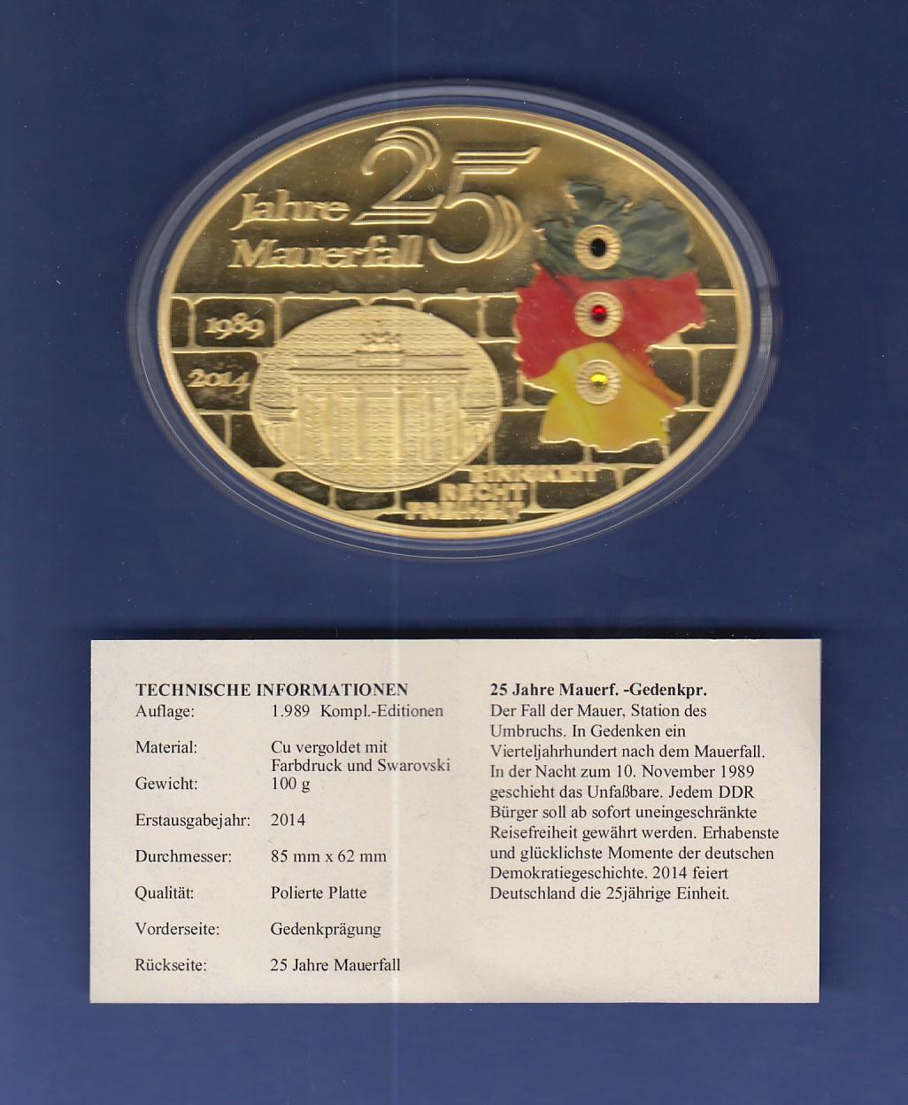Ovale Gigant Medaille 100g 25 Jahre Mauerfall Vergoldet Mit