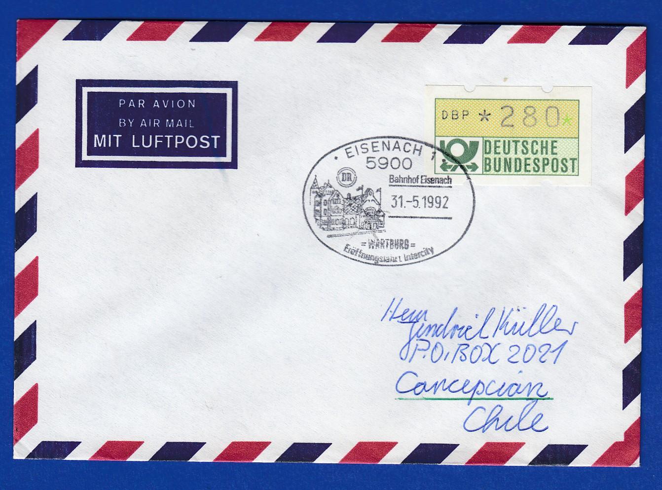 Briefe Nach Chile : Atm wert pfg auf luftpost brief nach chile