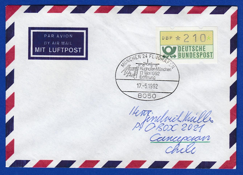 Briefe Nach Chile : Atm wert pfg auf brief nach chile sonder o