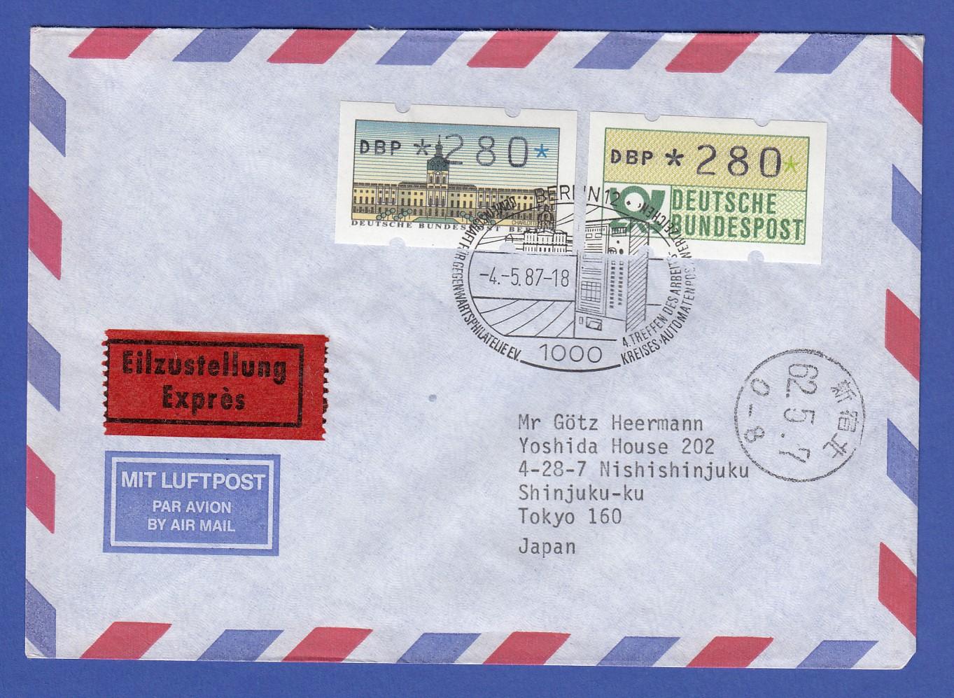 Brief Nach Japan Dauer Atm Berlin Bund Je Wert Pfg Auf Lp Express