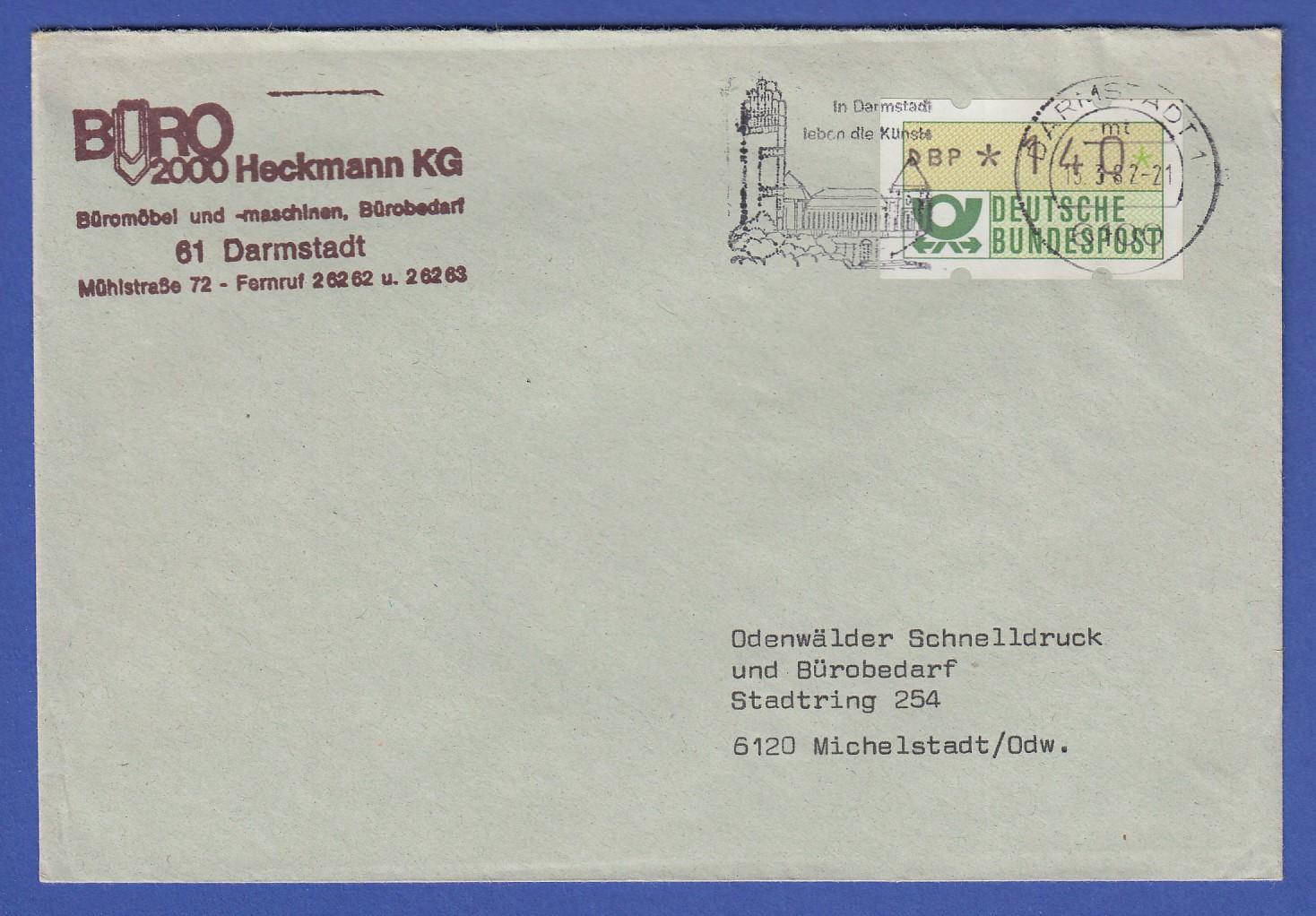14.4.82 Atm 1.1 Wert 90 Als Ef Auf Brief In Die Udssr Vom Standort Darmstadt Automatenbriefmarken Diverse Philatelie