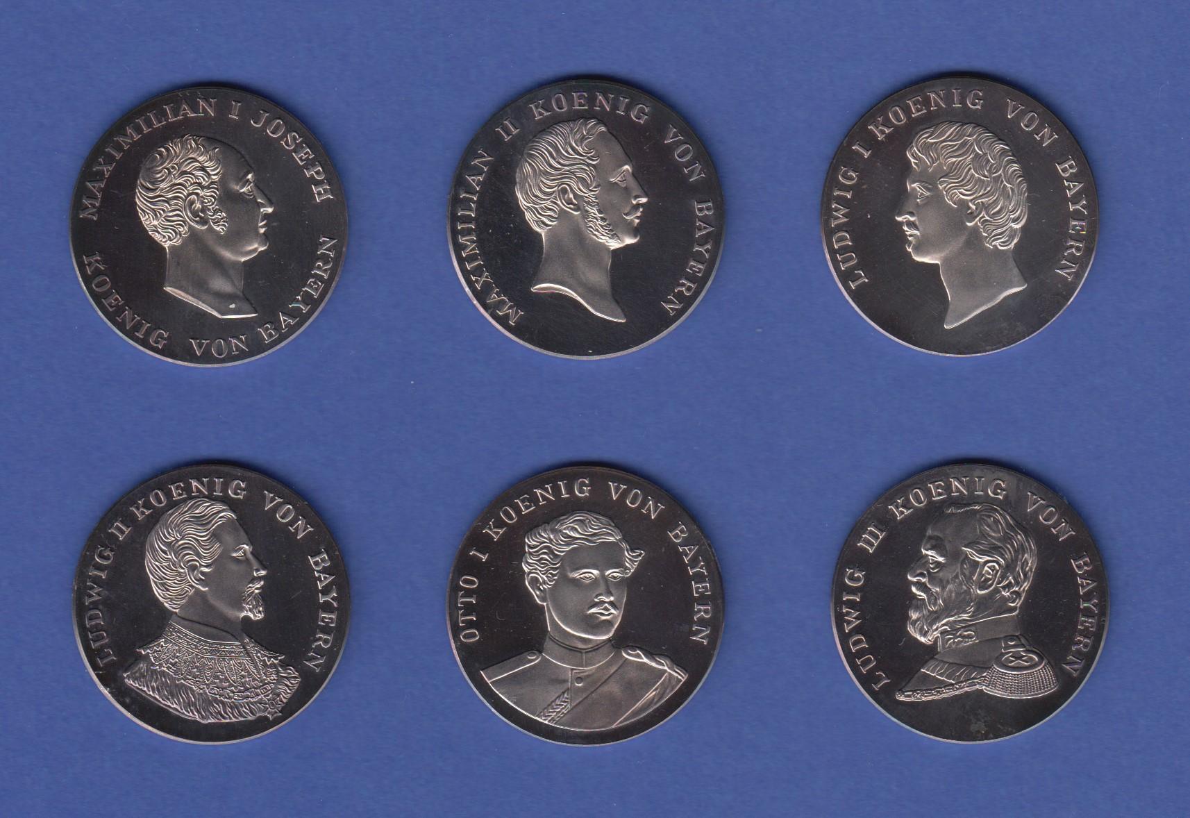 Die Bayerischen Könige 6 Hochwertig Geprägte Edle Silber Medaillen