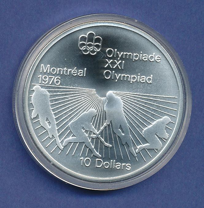 Kanada10 Dollar Olympia Silbermünze Montreal 1976 Hockey 484g
