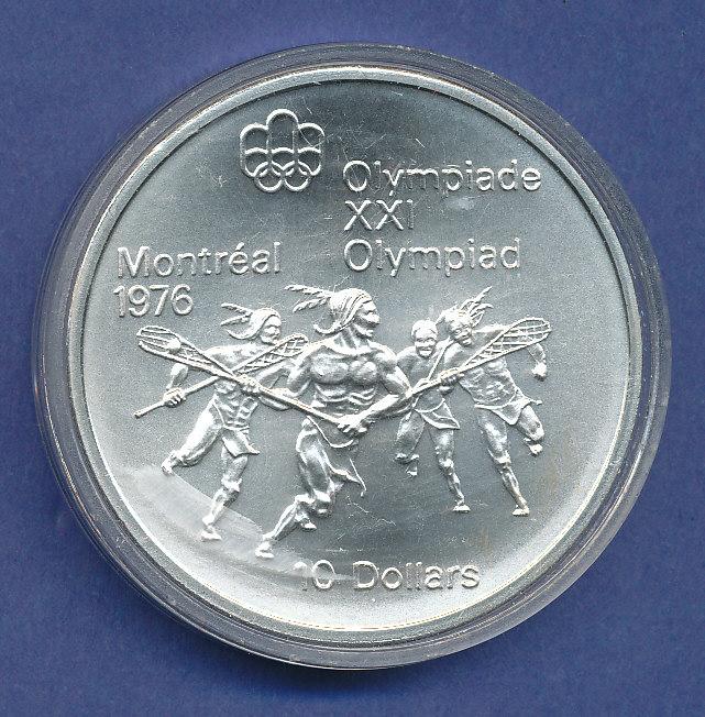 Kanada10 Dollar Olympia Silbermünze Montreal 1976 Lacrosse 484g