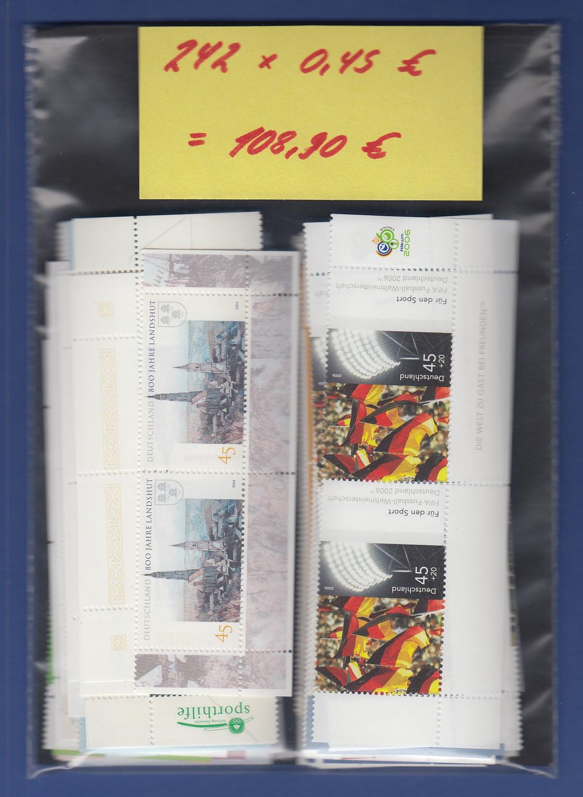 Frankaturware Deutschland orig. postfrisch, 242x0,45€ = 108,90 ...