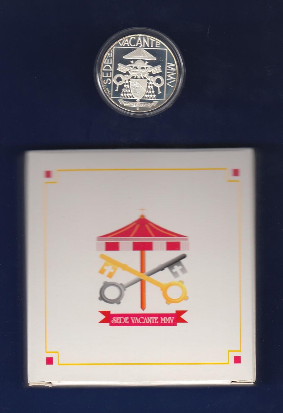 Vatikan 5 Euro Silber Gedenkmünze 2005 Sedisvakanz Pp In Ovp