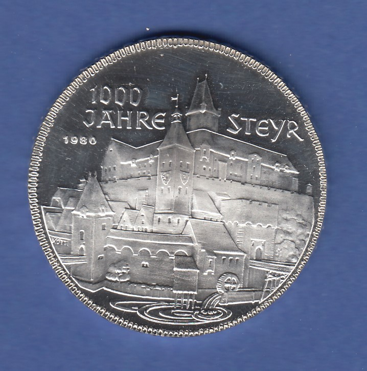 österreich 500 Schilling Silber Gedenkmünze 1980 1000 Jahre Steyr Pp