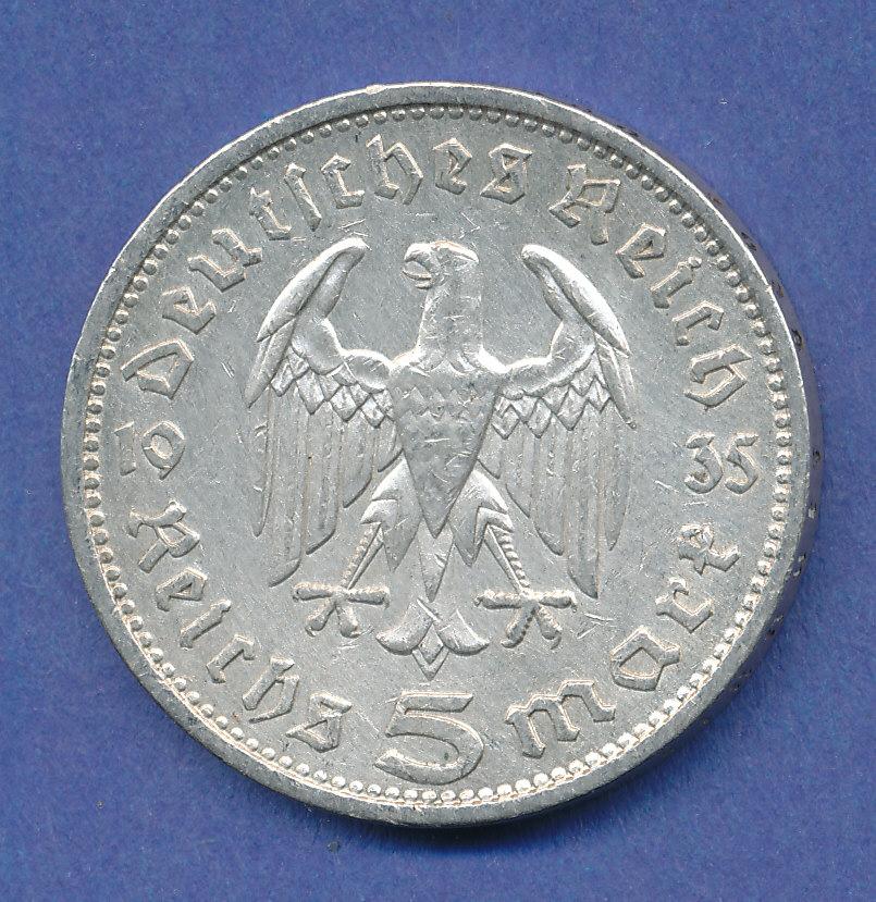 5 Reichsmark Silbermünze Paul Von Hindenburg 1935 A Tilman