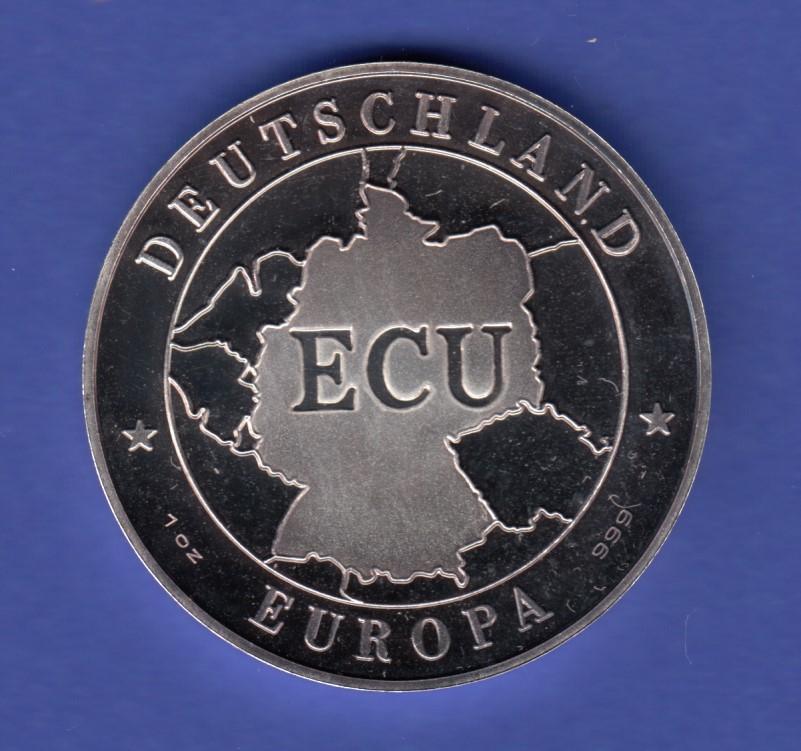 Silbermedaille Ecu Deutschland Einigkeit Recht Freiheit Ag999 31