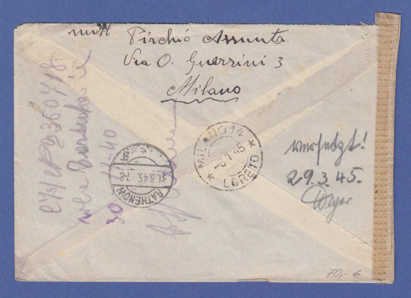 Italien Januar 1945 Interess Zensur Retour Brief Von Mailand Nach