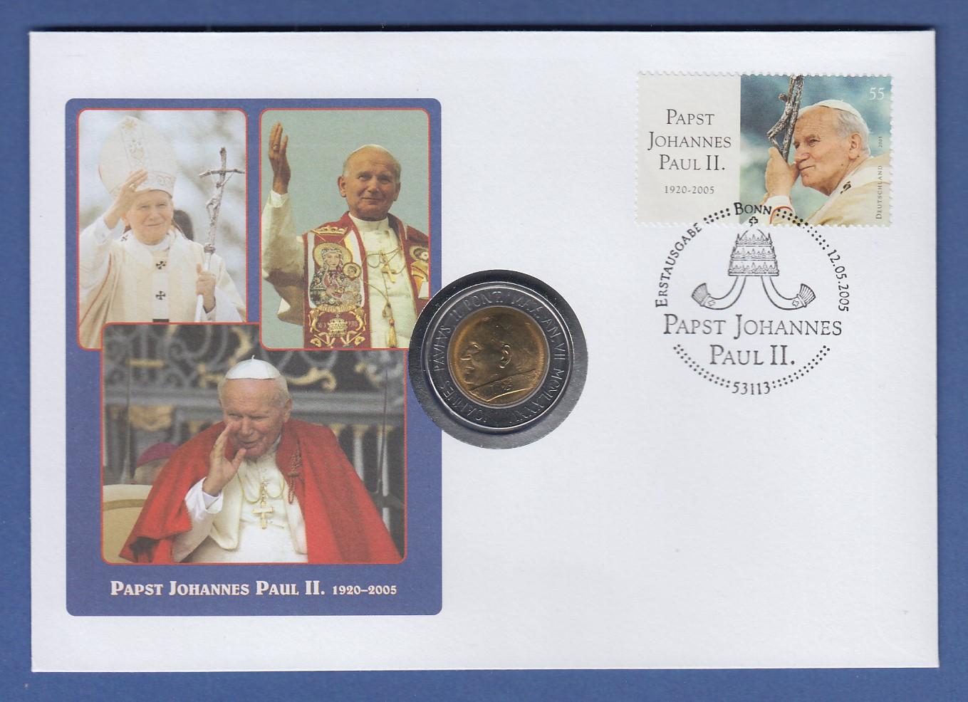 Numisbrief Papst Benedikt Xvi Deutschlandreise Köln 2005 Mit Münze