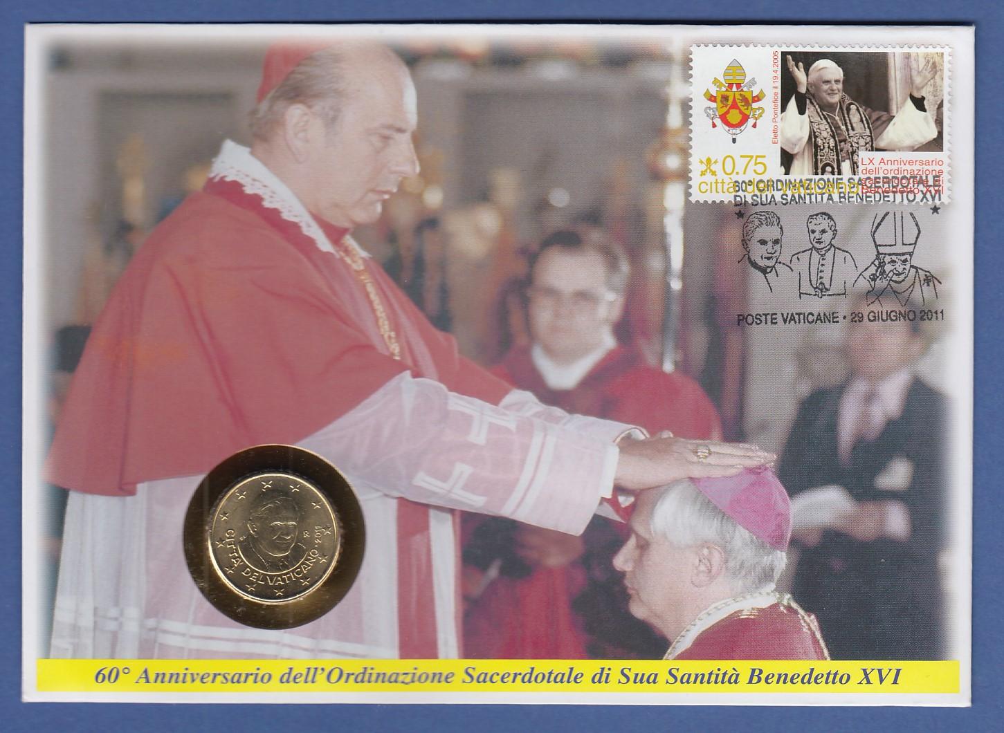 Numisbrief Vatikan Mit 50cent Münze 2011 Papst Benedikt Xvi