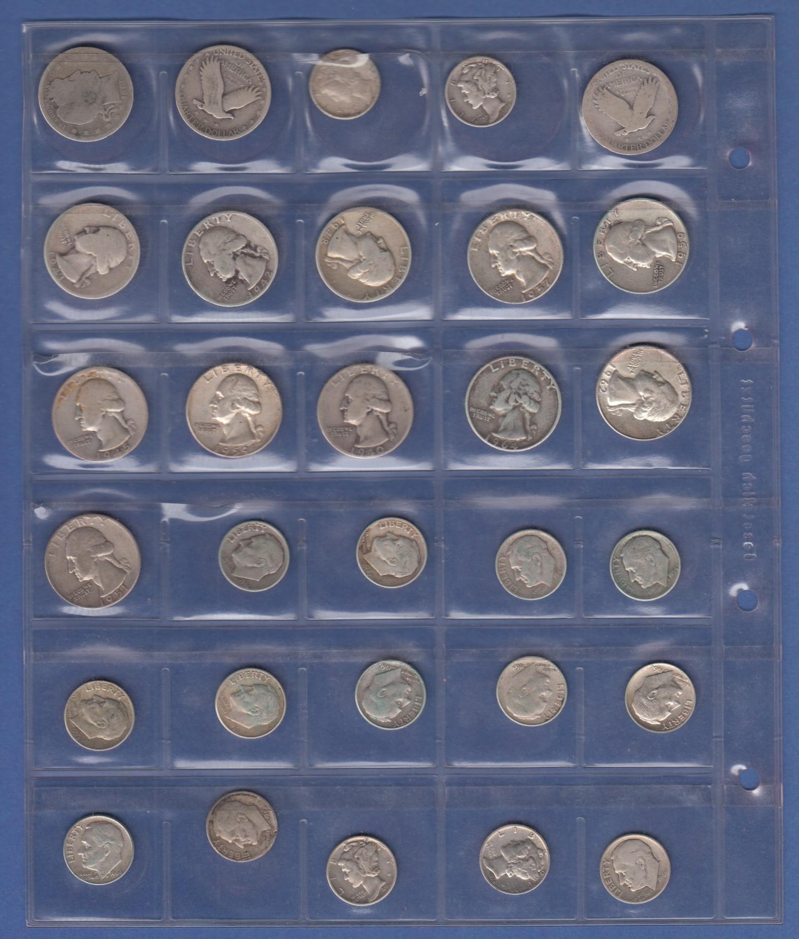 Usa Lot 30 ältere Silbermünzen 10 Cent 25 Cent Ansehen
