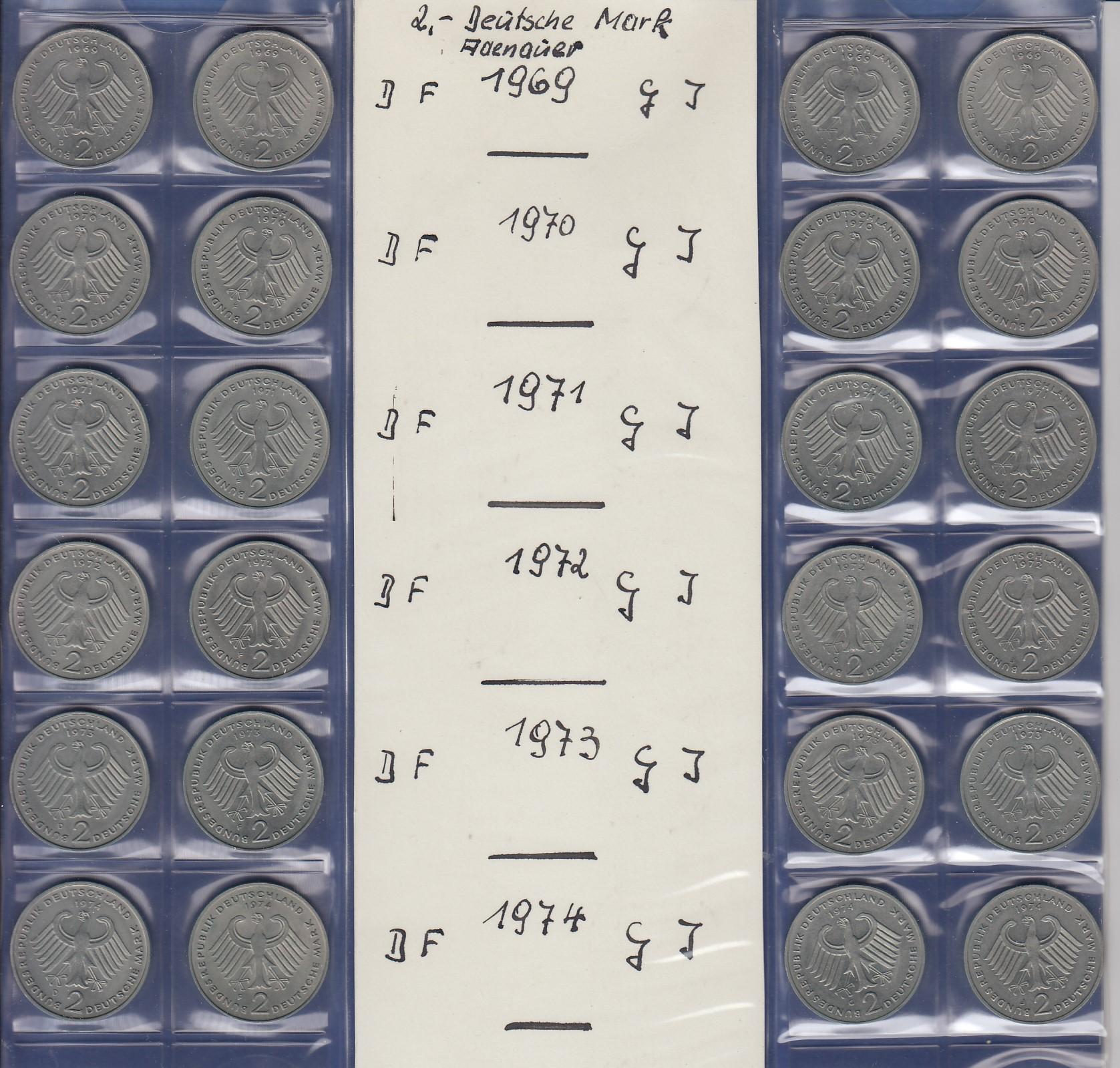 Bundesrepublik 2dm Konrad Adenauer 1969 1974 Alle 24 Münzen Dfgj
