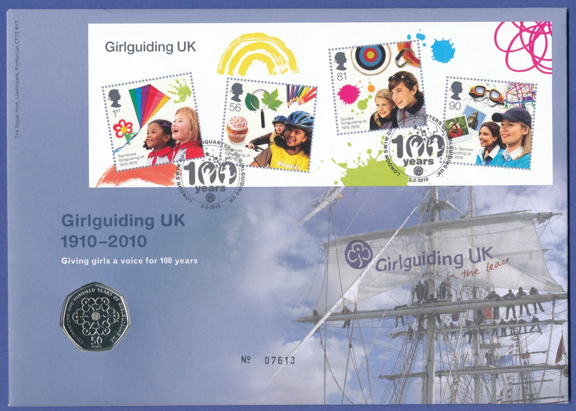 Großbritannien Coin Fdc 2010 100 Jahre Pfadfinderinnen Mit 50