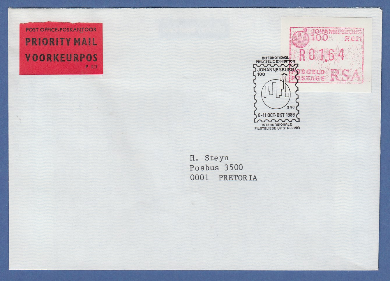 Diverse Philatelie Briefmarken Sammlung Hier Rsa Südafrika Frama-atm Aus Oa P.001 Pretoria Wert 00.30 Auf Brief Nach Belgien