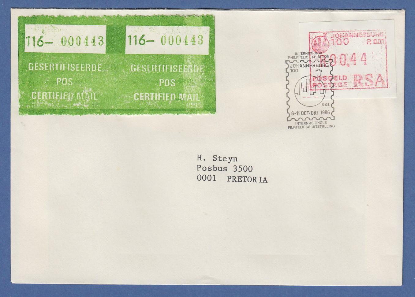 Diverse Philatelie Rsa Südafrika Frama-atm Aus Oa P.001 Pretoria Wert 00.30 Auf Brief Nach Belgien
