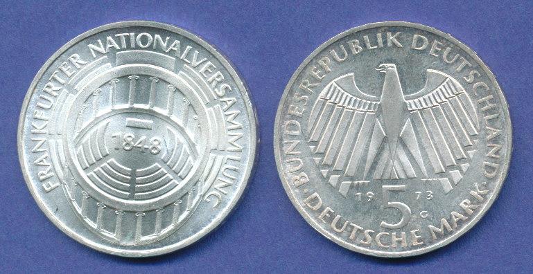 Bundesrepublik 5dm Silber Gedenkmünze 1973 Frankfurter
