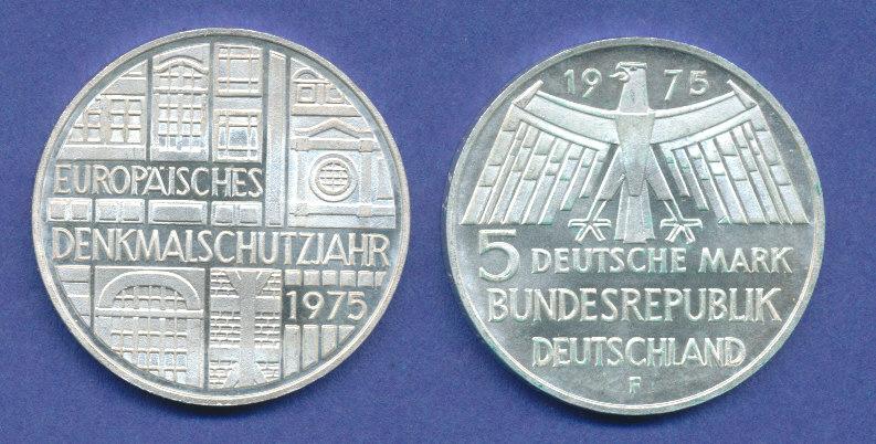 Bundesrepublik 5dm Silber Gedenkmünze 1975 Europäisches