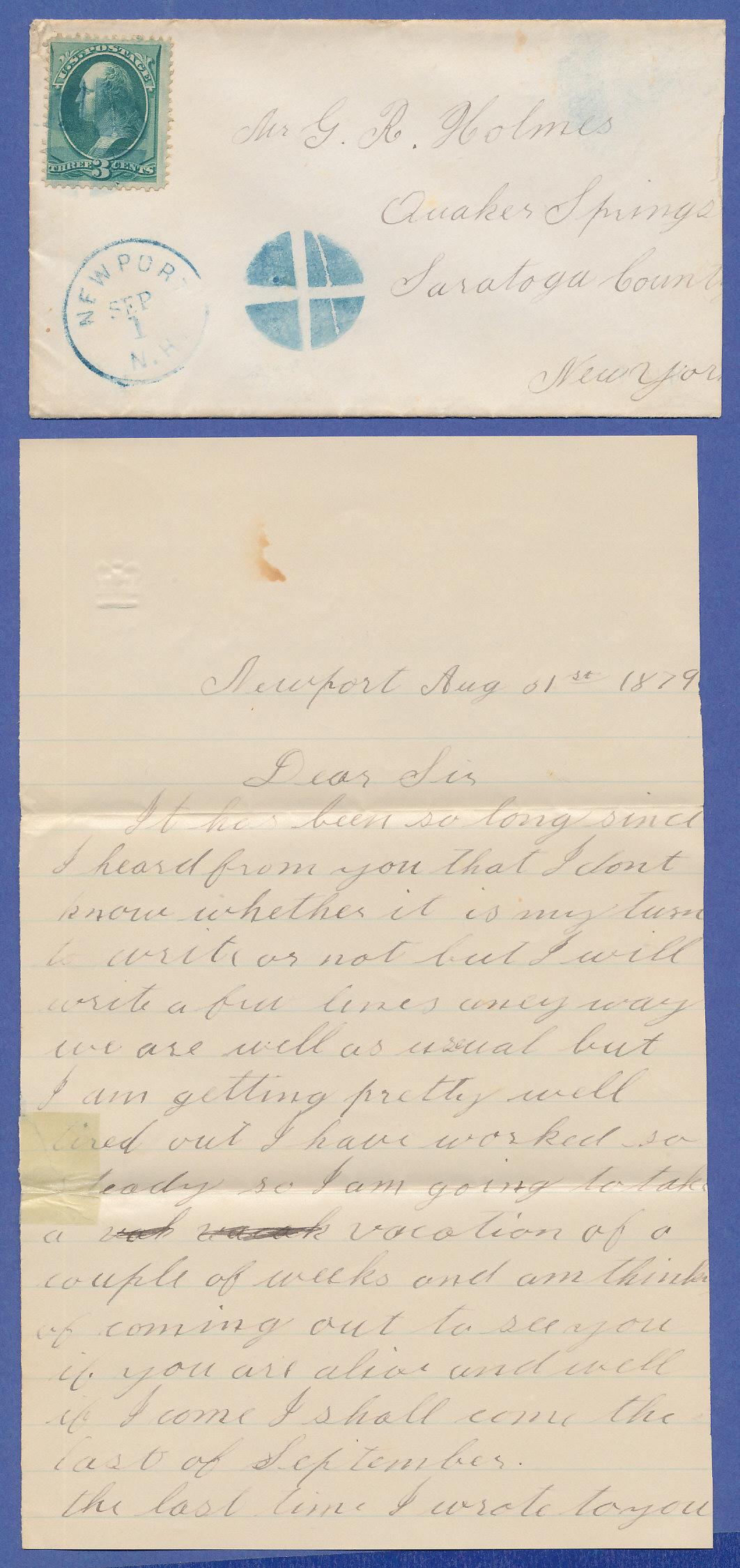 Brief Nach New York : Usa brief mit stummem stempel newport n h gelaufen