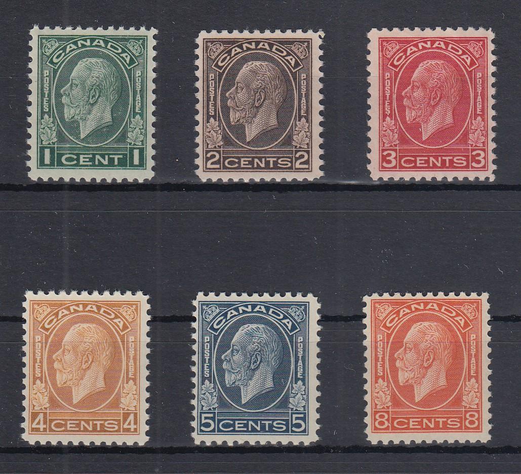 2 Kanada Briefmarken #108-109 — 3c King George V Ungebraucht