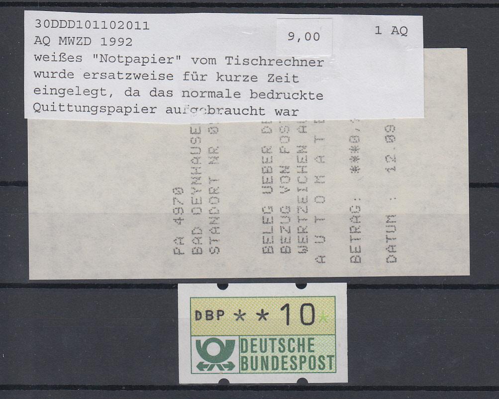 Automatenbriefmarken Bundesrepublik Deutschland Automatenmarke 1987 Auf Karte Int.nr.549 Diverse Philatelie