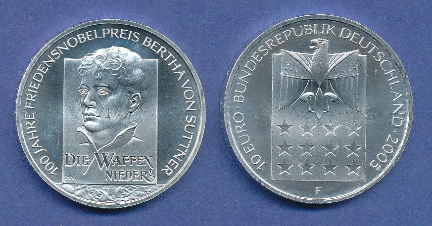 10 Gedenkmünze 100 J Friedensnobelpreis Bertha Von Suttner 2005